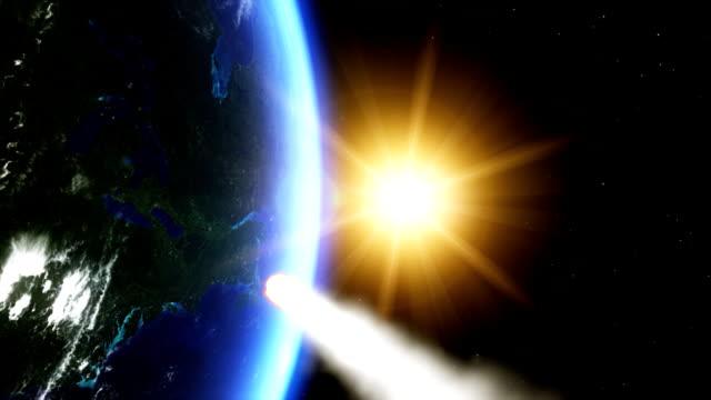 운석 때리기 지구별 - 유성 스톡 비디오 및 b-롤 화면