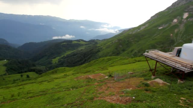 Meteorological station in mountains, panning, sochi, russia video