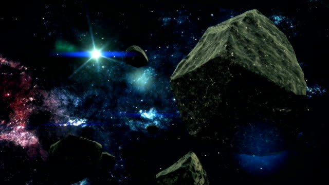 Meteors Hovering in a Colorful Galaxy in Space video