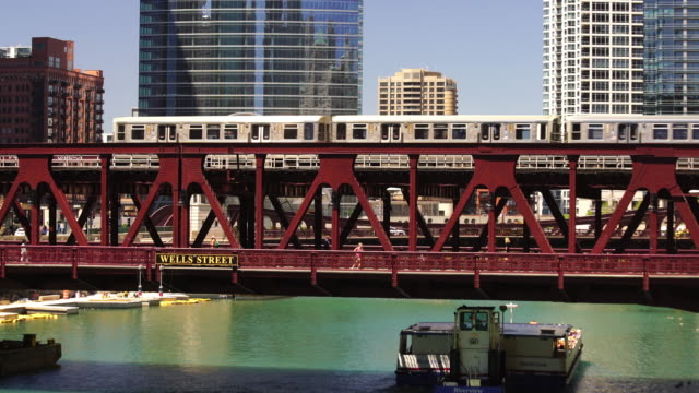 Metro Train in downtown Chicago video