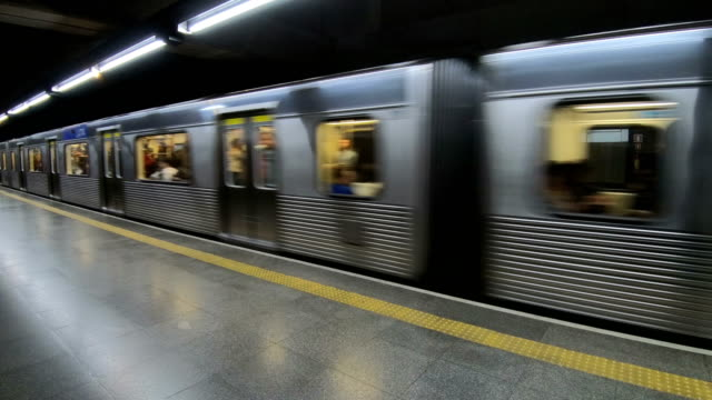 Metro Metro train in the city of São Paulo in Brazil arriving at a station underground stock videos & royalty-free footage