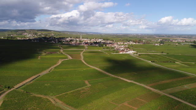 Meursault Burgundy timelapse from above with clouds passing video