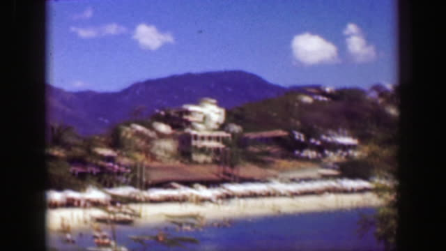 1952: mexican beach recreation area blue waters summer tropical fun. - guerrero video stock e b–roll