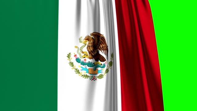 Mexican Flag Curtain Opening. Green Screen. Alpha Channel.