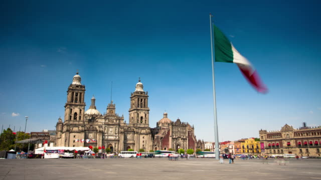 time lapse: mexico city cathedral - south america travel stock videos and b-roll footage