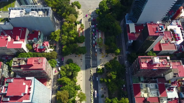 mexico city reforma avenue aerial - viale video stock e b–roll
