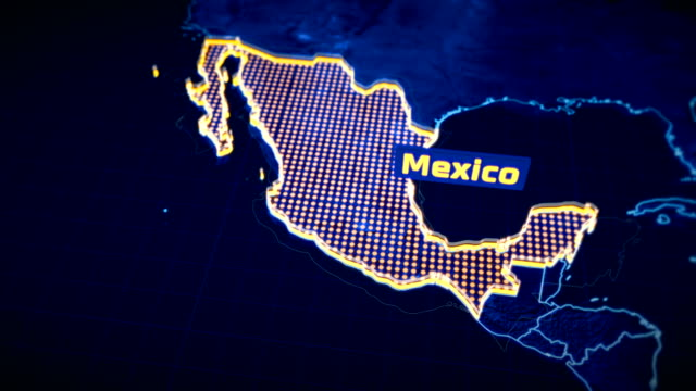Mexico country border 3D visualization, modern map outline, travel