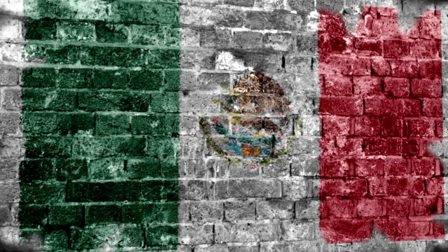 Mexico Flag Grunge Wall. 4k video