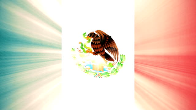 Mexico flag waving seamless loop with sun light rays new quality unique animated dynamic motion joyful colorful cool background video footage video