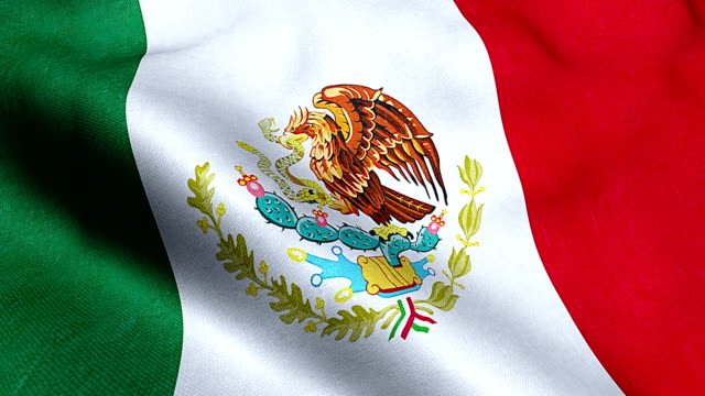 mexico flag waving texture fabric background video