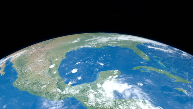 Mexico Gulf seen from outer space in planet earth video