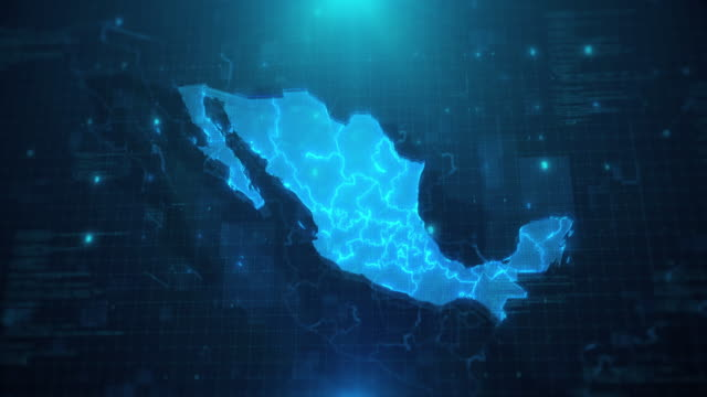Mexico map with states against blue animated background 4k UHD