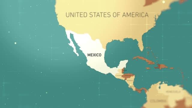 mexico on world map stock video - hiroshima filmów i materiałów b-roll