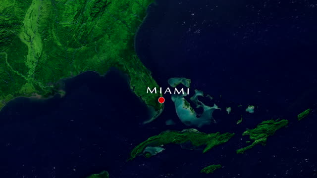 miami 4k zoom in - aerial map stock videos & royalty-free footage