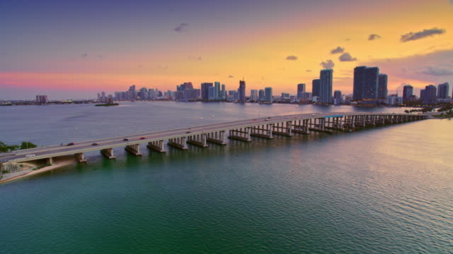 AERIAL Miami at sunset from Julia Tuttle Causeway