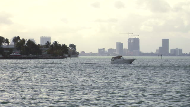Miami Bay with Speedboat video