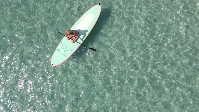 Miami Beach Paddleboard Drone Aerial Overhead View Cyrstal Clear Water