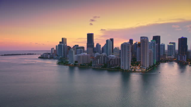 AERIAL Miami from the Biscayne bay at sunset video