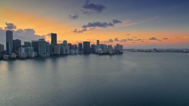 AERIAL Miami Skyline at sunset video