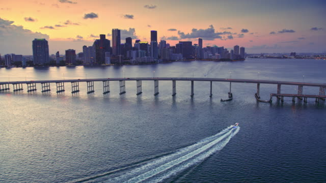 AERIAL Miami skyline in setting sun
