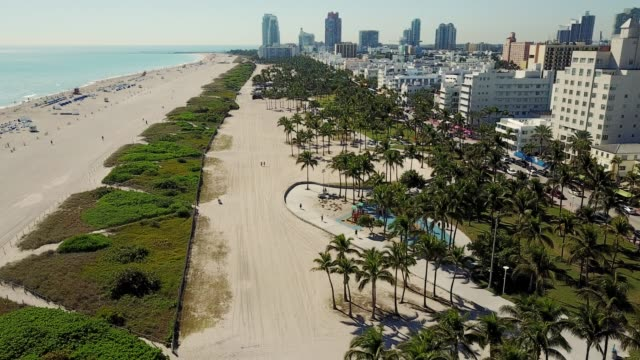 miami, usa - skyscrapers, south beach and amazing art deco architecture - gulf coast states stock videos & royalty-free footage