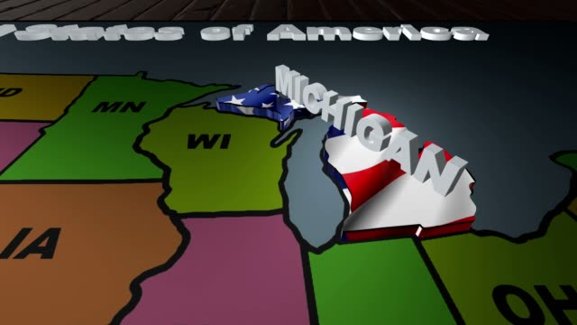 Michigan pull out from USA states abbreviations map video