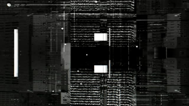 Micro black and white high tech graphic glitches. Simple, detailed, dark, this black and white minimal visual composition is designed for underground electronic music party, track background or motion graphic masks. raw footage stock videos & royalty-free footage