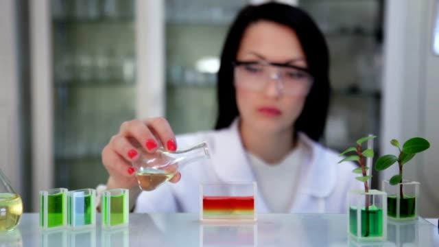 Microbiologista no laboratório trabalha com preparação de líquido - vídeo