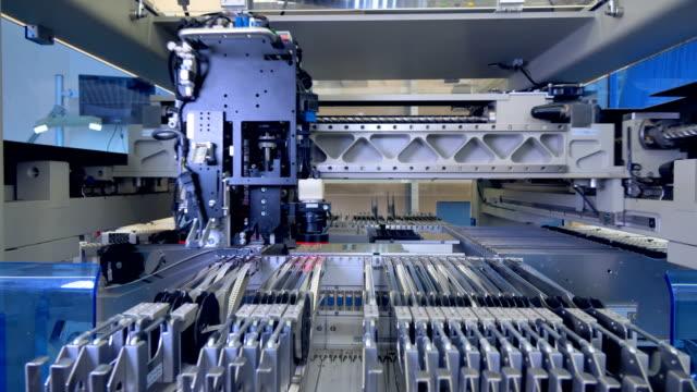 Microelectronics production line. Microcircuit chip production. 4K. video