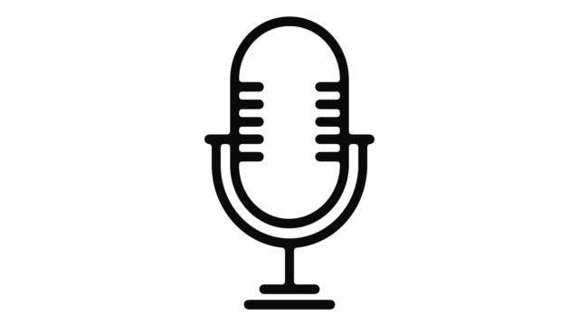 vídeos de stock, filmes e b-roll de microfone linha motion graphic - podcast