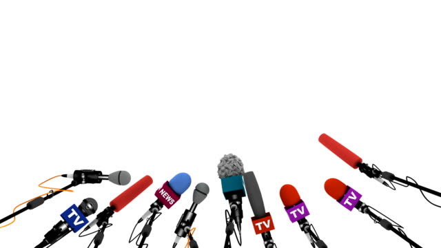Microphones prepare for press conference, 3D animation with alpha channel Computer-generated footage on the Mass Media theme anticipation stock videos & royalty-free footage