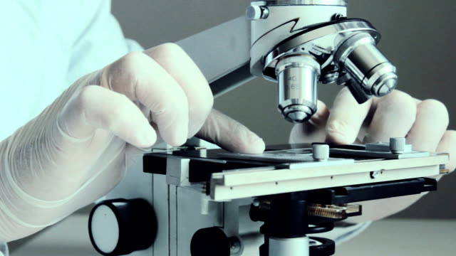 Microscope at laboratory. Close-up shot video