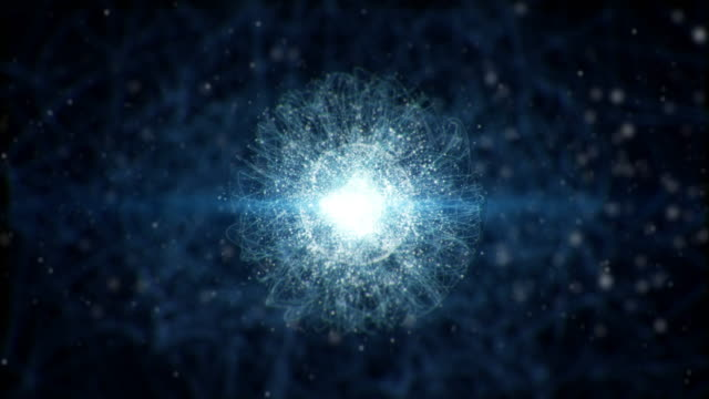 a microscopic atomic particle system - atomo video stock e b–roll