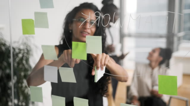 Mid Adult Businesswoman Attaching Adhesive Notes to Window video