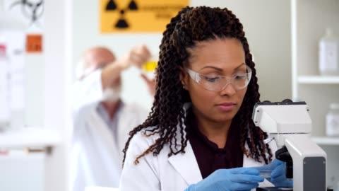 vídeos de stock e filmes b-roll de mid adult female scientist prepares sample for research - biologia