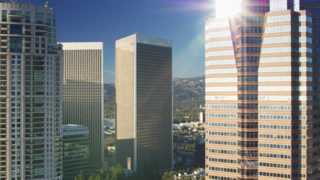 Mid Point of Century City Office Towers - Drone Shot video