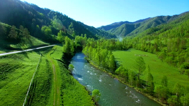 Mid-air flight over fresh mountain river and meadow at sunny summer morning. Rural dirt road below video