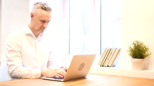 Middle Age Man Working on Laptop, Designer video