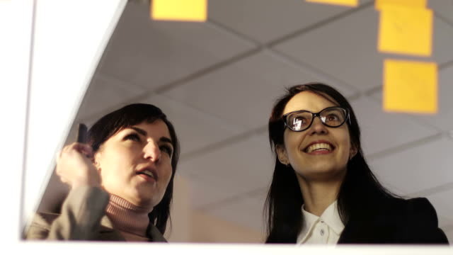 Middle aged business woman and young girl looking on sticker on glass during business meeting and work discuss in office space.