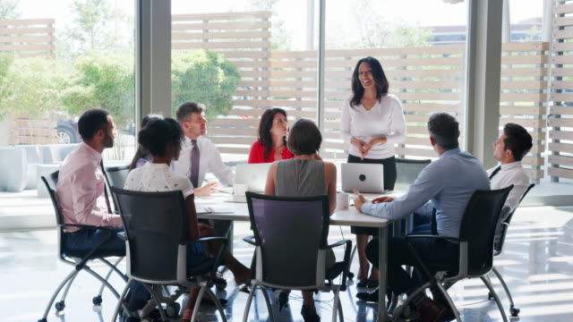 A middle aged businesswoman holds meeting in a modern office A middle aged businesswoman holds meeting in a modern office board room stock videos & royalty-free footage