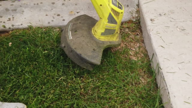 A middle Aged Woman Edging The Lawn With A Weed Trimmer