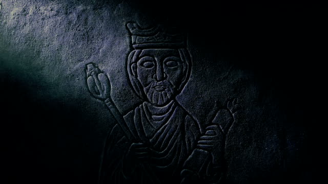 Middle Ages King Stone Carving On Castle Wall