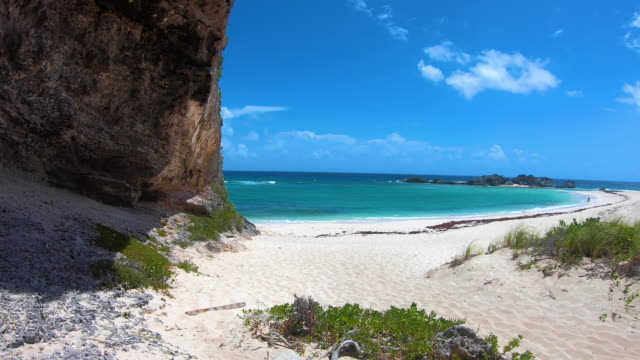 Middle Caicos Private Sandy Beach Beautiful beach in Middle Caicos, Turks and Caicos turks and caicos islands stock videos & royalty-free footage
