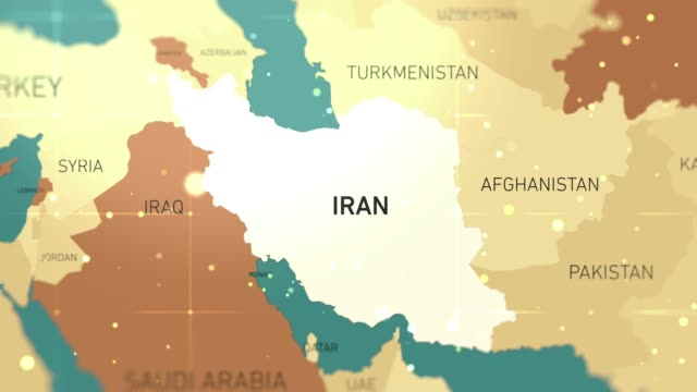 Middle East Iran on World Map stock video