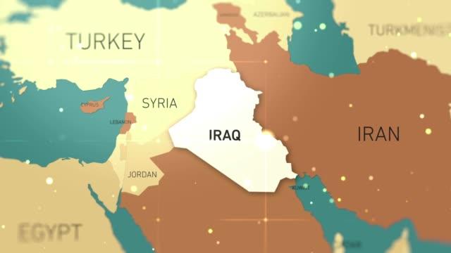 middle east iraq on world map stock video - hiroshima filmów i materiałów b-roll
