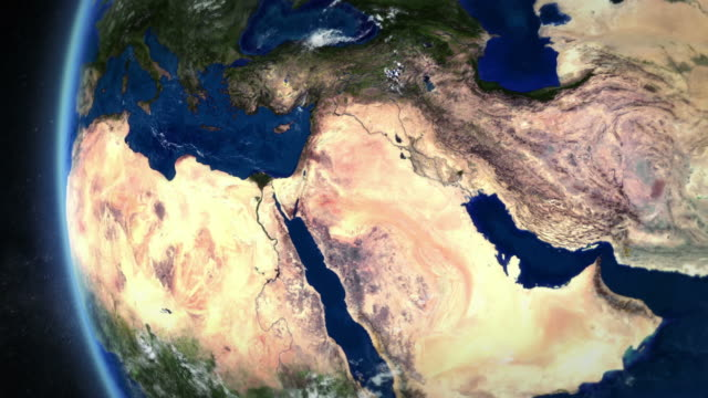 middle east seen from space. - aerial map stock videos & royalty-free footage