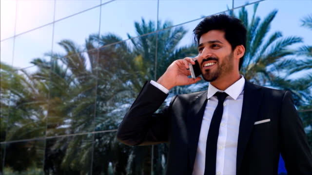 Middle eastern businessman on the phone video
