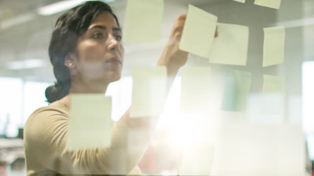 Middle Eastern businesswoman writing notes for the new project video