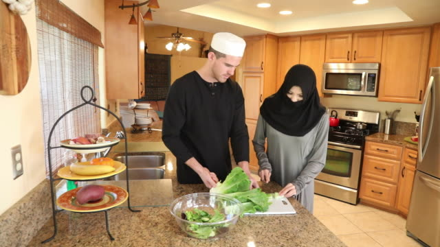 Middle Eastern Couple Make Salad Track Right