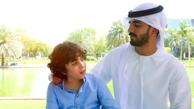 Middle Eastern father with his son video